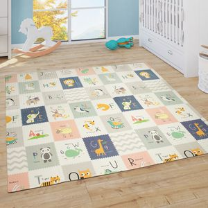 Spielmatte Krabbelmatte Baby Kinder Matte Faltbar Abwaschbar Wendbar Tier Motiv, Grösse:180x200 cm