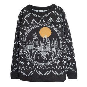 Harry Potter - Pullover für Damen - weihnachtliches Design PG874 (XS) (Schwarz)