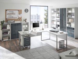 Büromöbel Office Luxo 9 teiliges Komplett Set in Lichtgrau mit lackierten Graphit Glasfronten abschließbar
