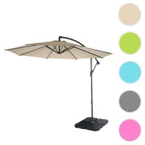 Semi-Profi Ampelschirm Acerra, Sonnenschutz, 3m neigbar  creme mit Ständer, ohne Bodenplatten