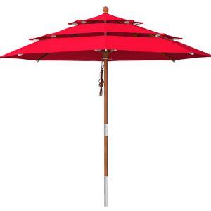 anndora Sonnenschirm 3-lagig 3,5 m rund DREILADREIFÜNF Gartenschirm Rot - Rot