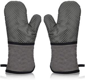 Ofenhandschuh Hitzebeständig Topfhandschuhe Topflappen Handschuh,BBQ Backofen Handschuhe,Grillhandschuhe Backhandschuhe Kochhandschuhe Anti-Rutsch Silikon Beschichtet Lang Oven Gloves (Grau)