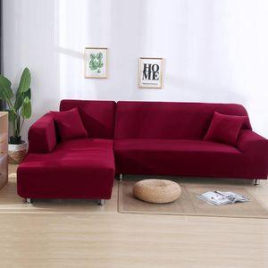 ele ELEOPTION Sofahusse Sofabezug Stretchhusse 2er Set 3 Sitzer für L Form Sofa inkl. 2 Stücke Kissenbezug Weinrot