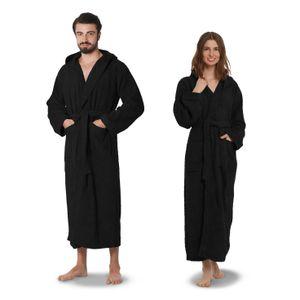 OAHOO Uni Bademantel Extra Lang Black-L