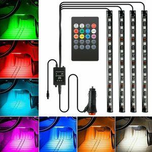 4x 12 LED RGB Innenraumbeleuchtung Fußraumbeleuchtung Lichtleiste set Auto Licht,Fernbedienung mit Batterie