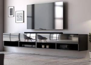TV-Lowboard Epsom in schwarz Hochglanz XL Flat TV Unterteil hängend 200 cm Board als Hängeschrank