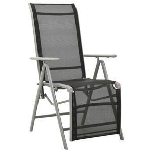 vidaXL Garten-Liegestuhl Textilene und Aluminium Silbern