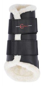 COVALLIERO Dressurgamaschen Fleece, schwarz, Vollblut. vorne: Breite = 28 cm. Höhe= 26.5 cm