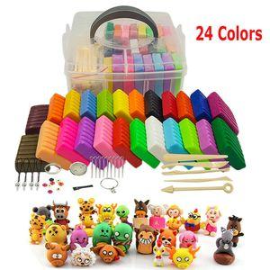 24 Farben Polymer Ton Set Ofen Clay Modellierung Knete Modelliermasse Kit Kreatives Spielzeug Geschenk für Kinder