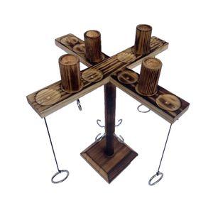 Hooks Ring Toss Spiele,Brettspiele,Handgemachtes Hölzern Ring Toss Hooks Interaktives Spiel für Bars Party Drinking,4 Spieler(Anthrazit schwarz)