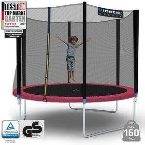 Kinetic Sports Outdoor Gartentrampolin Ø 305 cm, TPLH10, Komplettset inklusive Sprungtuch aus USA PP-Mesh +Sicherheitsnetz +Randabdeckung, bis zu 160kg, , UV-beständig, PINK