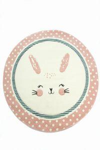 Kinderteppich Kinderzimmerteppich Babyteppich rund Hase in Rosa Weiss Türkis Größe - 80 cm Rund