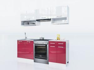 KÜCHE Lux 200 Cm Rot KÜCHENZEILE Küchenblock Einbauküche Komplettküche