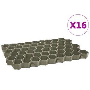 vidaXL Rasengitter 16 Stk. Grün 60 x 40 x 3 cm Kunststoff