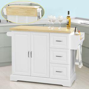 SoBuy® Luxus-Küchenwagen,Küchenschrank,Sideboard, mit erweiterbarer Arbeitsfläche,FKW41-WN