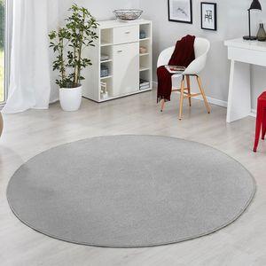 Runder Kurzflor Teppich Uni Fancy rund, Farbe:Grau, Größe:133 cm rund