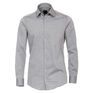 Größe 40 Venti Hemd Grau Uni Langarm Slim Fit Tailliert Kentkragen 100% Baumwolle Popeline Bügelfrei