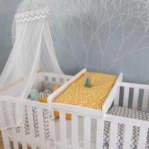 Puckdaddy Wickelbrett Mika 87x44,5 cm Wickelaufsatz aus Holz in Weiß aufsetzbar für das Babybett