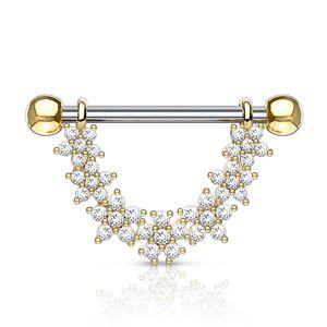Brustwarzen Piercing Nippelpiercing Brustpiercing Blumen Blüten Zirkonia Kristalle Autiga®