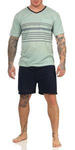 Herren Sommer Pyjama Short & T-Shirt Schlafanzug, Maigrün M