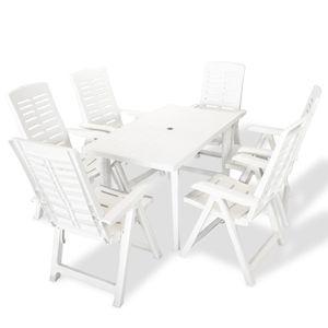 7-teiliges Outdoor-Essgarnitur Garten-Essgruppe Sitzgruppe Tisch + stuhl Kunststoff Weiß