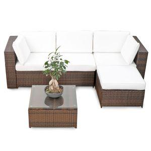 modulares 15tlg. Gartenmöbel Balkon Polyrattan Lounge Ecke - braun