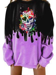 Frauen Halloween Totenkopf Print Langarm Pullover Pullover Tops Bluse Sweatshirts,Farbe: Violett,Größe:XL