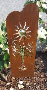 Beetstecker Skulptur Baum eckig Corten Kugel Edelstahl Dekoration Gartenstecker