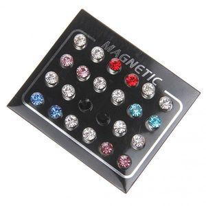 12pcs Mischfarbe Magneten Ohrringe Kein Durchdringen Ohrbolzen 6mm