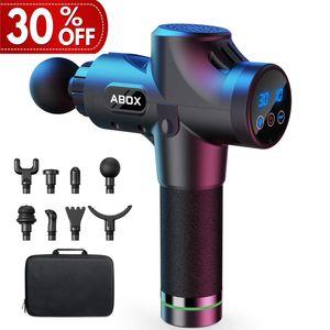 Massagepistole, ABOX ®Massagepistole für Nacken Schulter Rücken, elektrisches Massage Gun mit 8 Massageköpfen und 30 Geschwindigkeiten Muskelvibrationsgerät