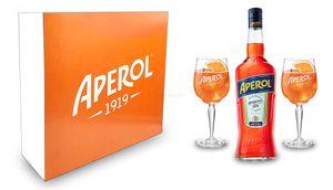 Aperol Geschenkset - Aperol Aperitivo Italiano 1L (11% Vol) + 2x Aperol 1919 Gläser / Glas + Giftbox - [Enthält Sulfite]
