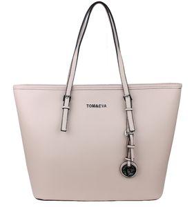 Shopper Tasche Tom & Eva TE-Jet Set Handtasche Beige Schultertasche Groß Kunstleder Saffiano-Prägung Tote Bag Logo Anhänger Henkeltasche
