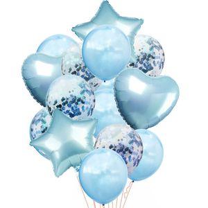 Oblique Unique Konfetti Folien Luftballon Set 14 Stk Geburtstag Party Hochzeit JGA - blau