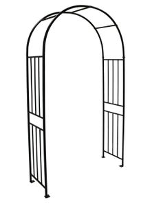 DEGAMO Torbogen Rankhilfe Rosenbogen VERSAILLES, Höhe 220cm, Breite 120cm, Metall 24mm  schwarz in Hammerschlagoptik