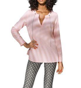 ASHLEY BROOKE Damen Designer-Longbluse, rosa, Größe:38