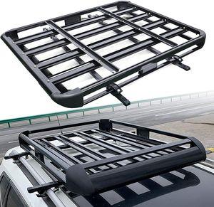 Dachgepäckträger Universal Dachträger Leichtes Aluminium Dachgepäckträger Dach Gepäckkorb Korb Wanne Fracht 130x101cm Relingträger 68kg Schwarz