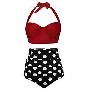 Frauen Sexy Badeanzug mit hoher Taille Bikini Set Zweiteiliger Trandkleidung Sommerbadebekleidung,Farbe:Rot Schwarz,Größe:M