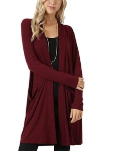 Strickjacke für Damen in Übergröße Strickjacke für Damen mit langen Ärmeln Top,Farbe: Rotwine,Größe:3XL