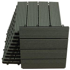WPC Bodenfliesen 30 x 30cm anthrazit standard 1 m²
