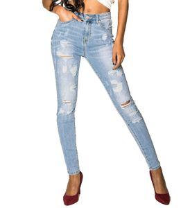 Damen Jeans Denim Stretch Hose mit Löchern High Waist Destroyed Look, Farben:Blau, Größe:36