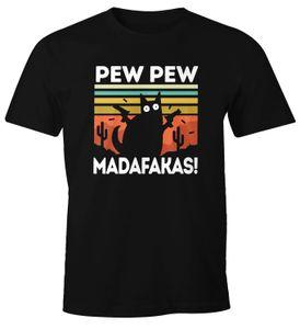 Herren T-Shirt Pew Pew Madafakas! schwarze Katze Fun-Shirt Spruch Meme lustig Moonworks® schwarz L