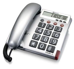 amplicomms BigTel 48, Analoges Telefon, Kabelgebundenes Mobilteil, Anrufer-Identifikation, Silber