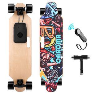 Caroma 91,4 cm Elektro-Skateboard mit kabelloser Fernbedienung, 700 W Dual Motor E-Skateboard, 20 KMH Max Geschwindigkeit, 15 km Reichweite, 8 Schichten Ahorndeck Elektro Longboard für Erwachsene, Jugendliche, Jungen, Kinder
