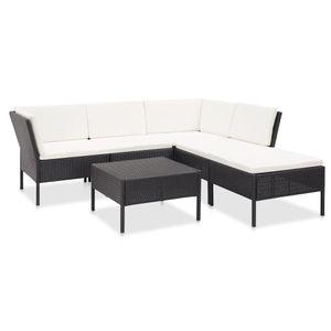 Balkonmöbel Set für 6 Personen, 6-TLG. Garten-Lounge-Set/Sitzgruppe/Gartengarnitur mit Auflagen Poly Rattan Schwarz☆3040
