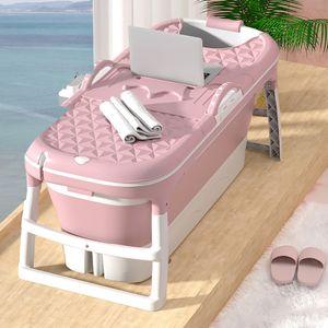 MECO 1,5m Klappbadewanne Faltbar Badewanne Sauna Bad Faß mit Decken für Erwachsenen, Pink