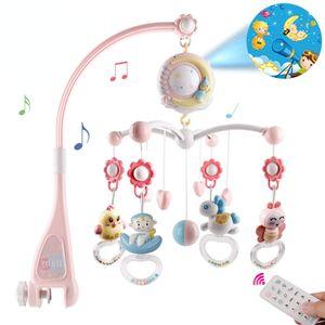 Baby Mobile für Babybetten mit Musik, Crib Mobile mit Nachtlicht und Projektor, Fernbedienung und Spielzeug zum Packen und Spielen (Rosa)