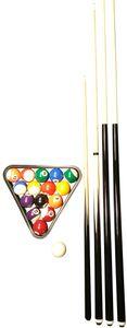 John West Billard Einsteiger Set - Kugeln + Triangel + 4 Queues (145, 122 + 92)