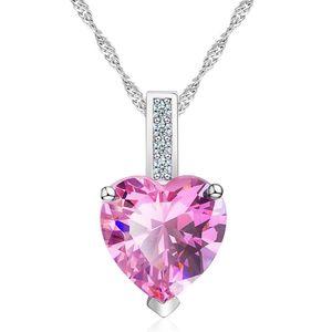 Damen Halskette Herz Anhänger Zirkonia Heart Geschenk Autiga® rosa