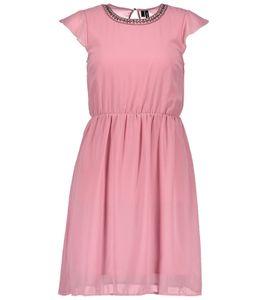 VERO MODA Denicia Mini-Kleid elegantes Damen Abend-Kleid mit kurzem Ärmel Rosa, Größe:XS