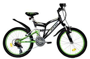 20 Zoll Kinder Jungen Mädchen Fahrrad Kinderfahrrad Mtb Mountainbike Fahrrad Rad Bike 10 GANG Beleuchtung Fully VOLLFEDERUNG Beleuchtung STVO  2700 Black Green Schwarz Grün